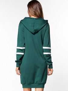 Green Letters Printed Women's Hooded Dress