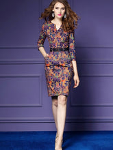 Blue 3/4 Sleeve Leaf Pattern Women's Sheath Dress