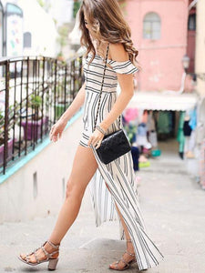 Striped Split Women's Maxi Dress