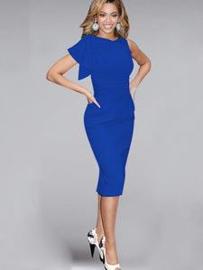 Multi-colored Short Sleeve Women's Sheath Dresses