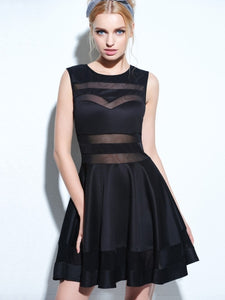 Black Mesh Panel Club Skater Women's Day Dress