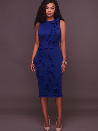 Blue Back Split Appliques Women's Sheath Dress