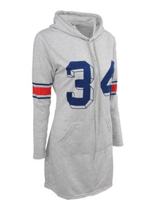 Gray Numbers Printed Women's Hooded Dress