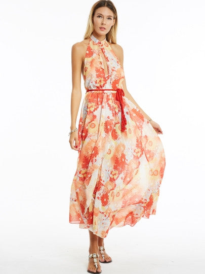 Orange Halter Printing Women's Maxi Dress