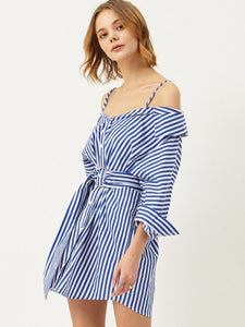 Blue Striped Lace up Women's Day Dress