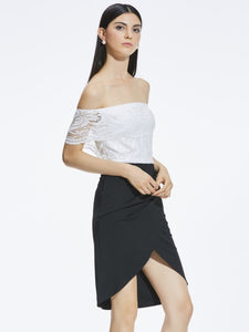Hollow Backless Slash Neck Women's Lace Dress