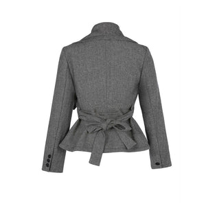 Grey Sash Turtleneck Bomber Jacket