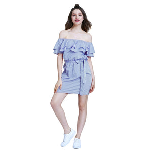 Cotton Flounce Sleeve Blue Cute Overall Dress