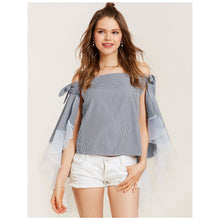 Cotton Blue 3/4 Length Sleeves Day Top