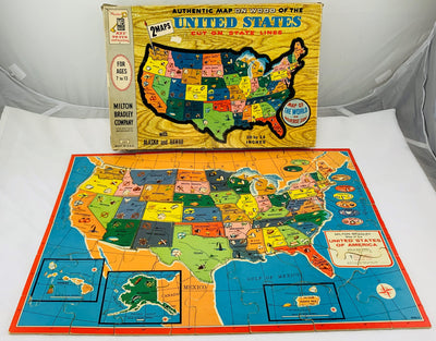 United States Map Puzzle - 1961 - Milton Bradley - Very Good Condition