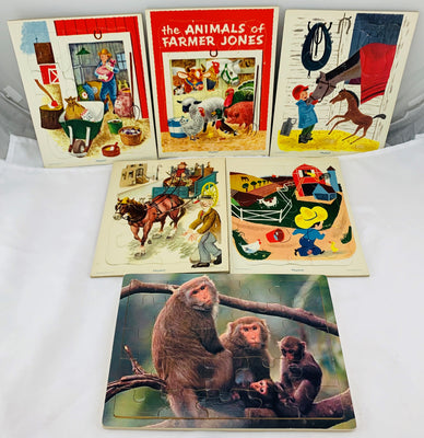 Farming and Animals Frame Tray Puzzles - 1960's - Playskool - Great Condition