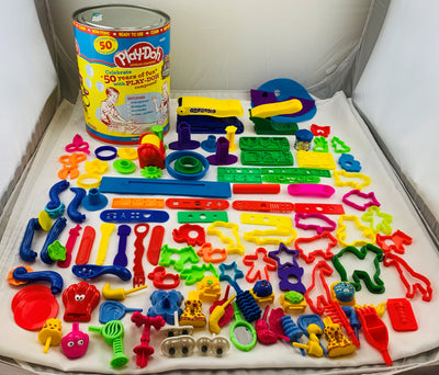 Play Doh 50th Birthday Collectors Can over 50+ Pieces - Hasbro - Great Condition