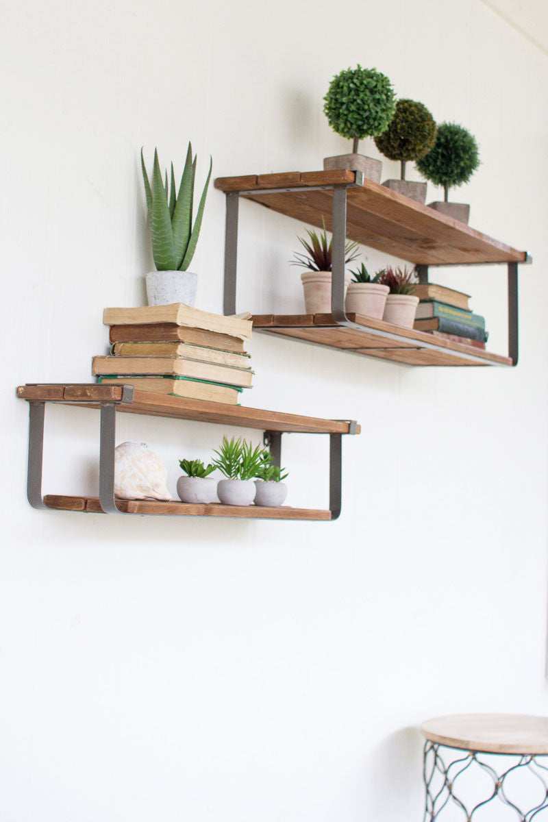 Recycled Wood + Metal Wall Shelves