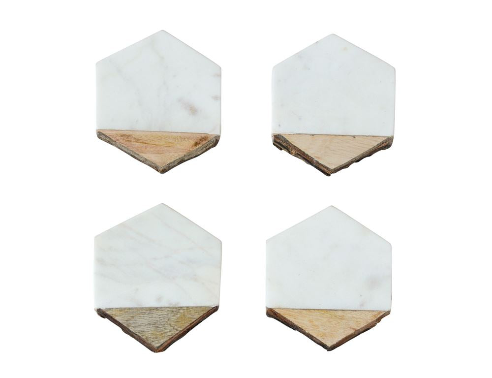 Mango Wood and Marble Hexagon Coasters
