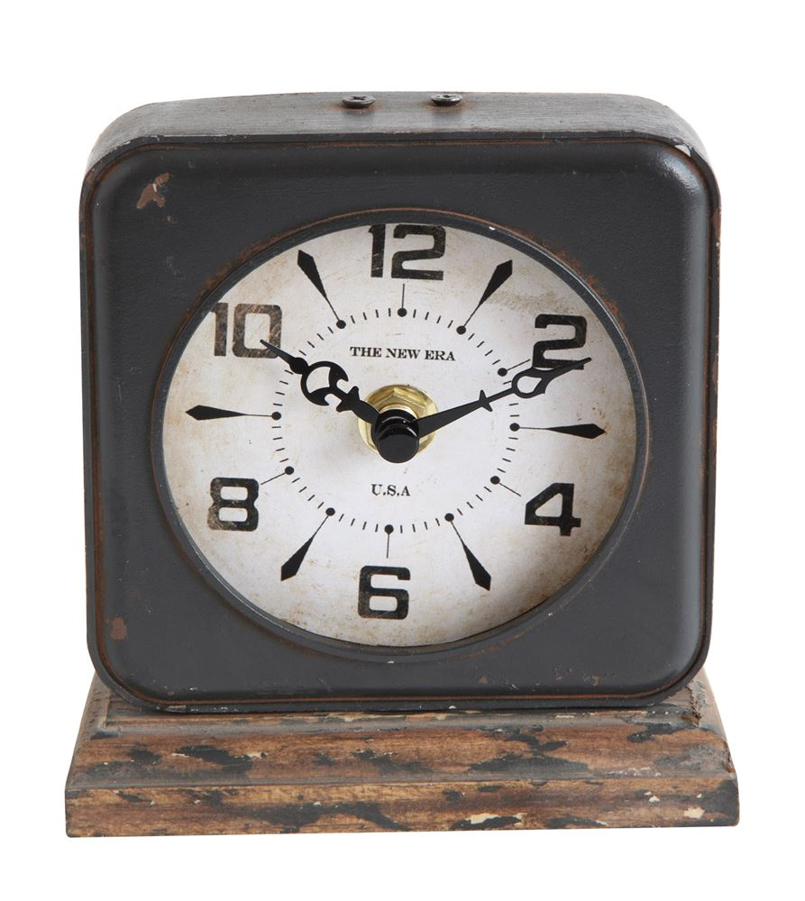Pewter Clock w/ Distressed Ivory Face