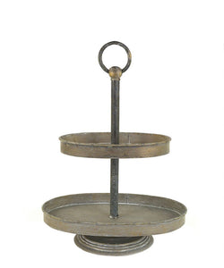 Brass Metal 2-Tiered Tray The Feathered Farmhouse