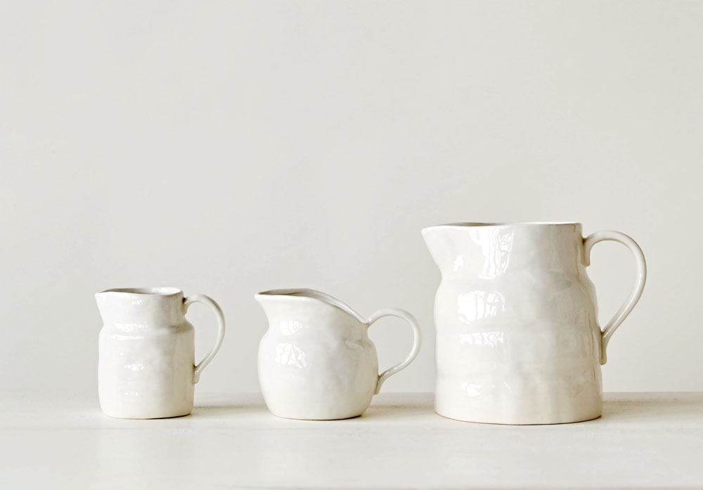 Stoneware White Pitcher