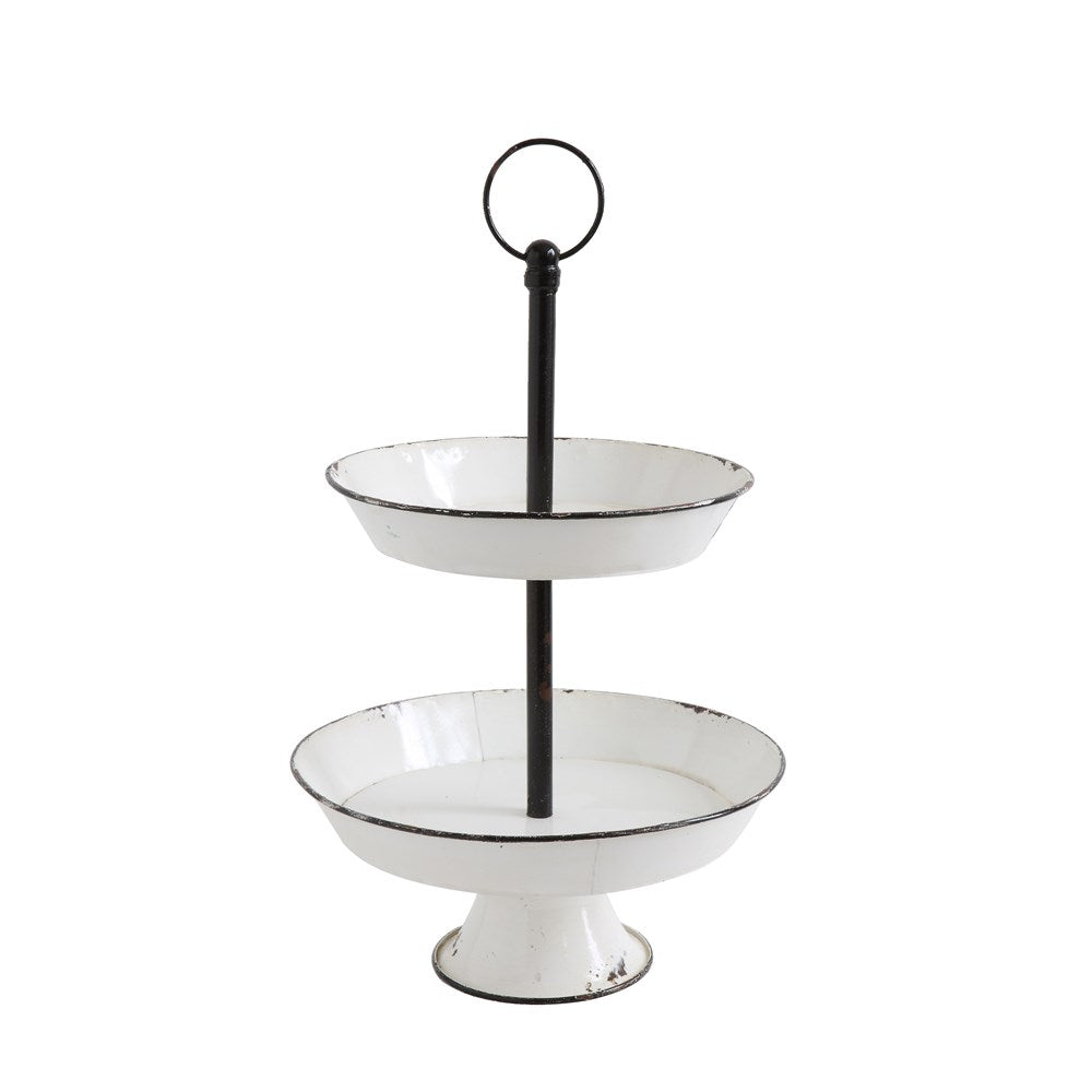 White Metal 2-Tier Pedestal