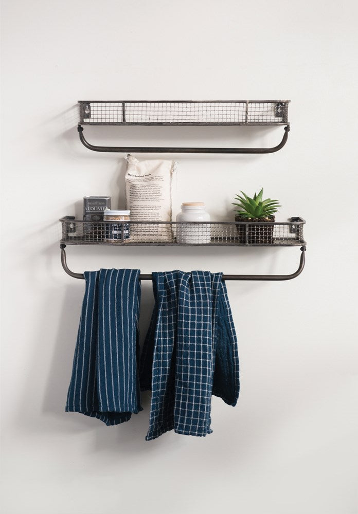 Metal Wall Shelves w/Bar