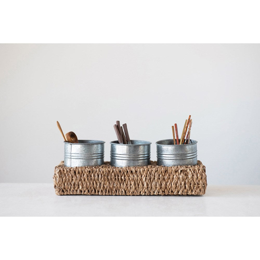 Hand-Woven Bankuan Tray w/3 Metal Containers