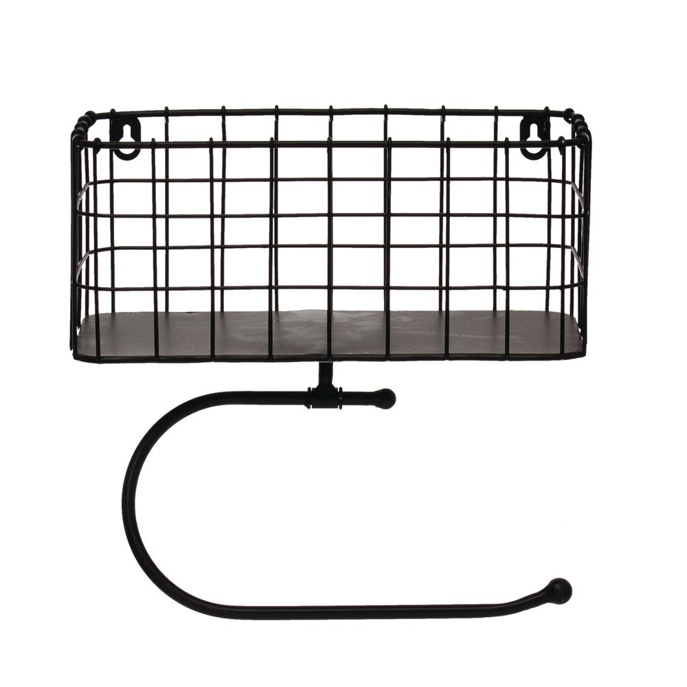 Metal Wall Basket with Toilet Paper Holder