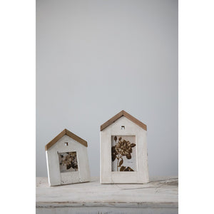 Reclaimed Wood House Shaped Photo Frame