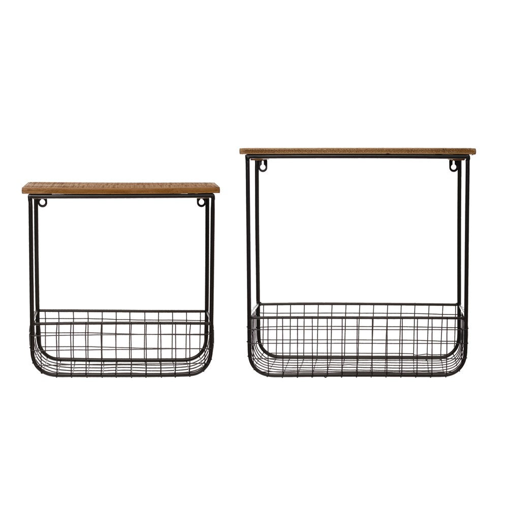 Wood Wall Shelves with Metal Baskets