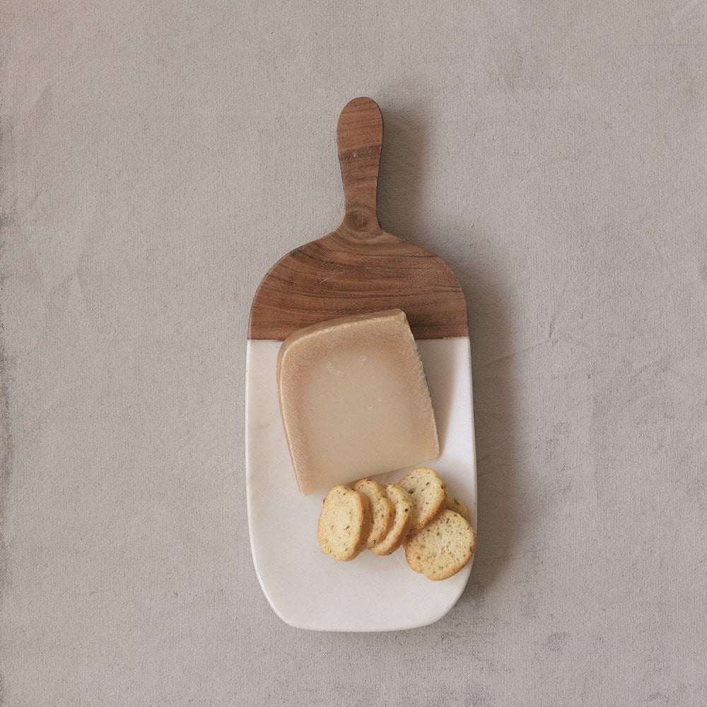 Marble Cheese Cutting Board with Wood Handle