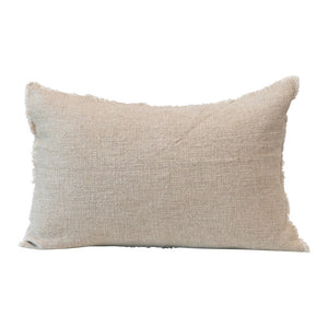 Frayed Linen Lumbar Pillow