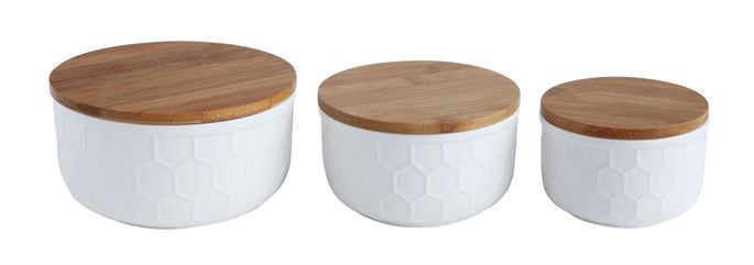 Matte White Bamboo Lid Canisters