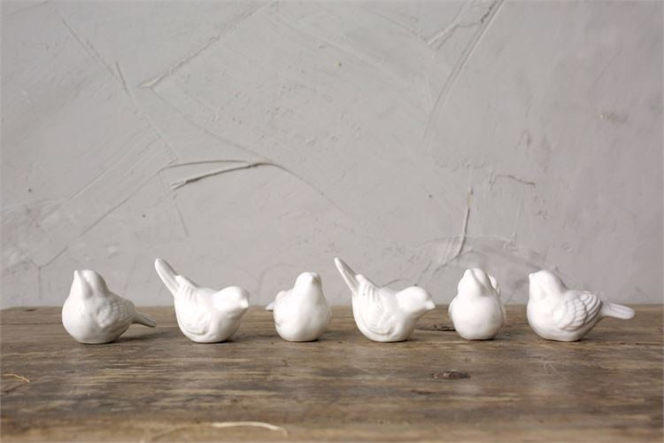 White Ceramic Bird Set