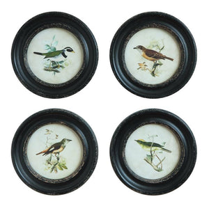 Round Framed Wall Decor w/ Bird