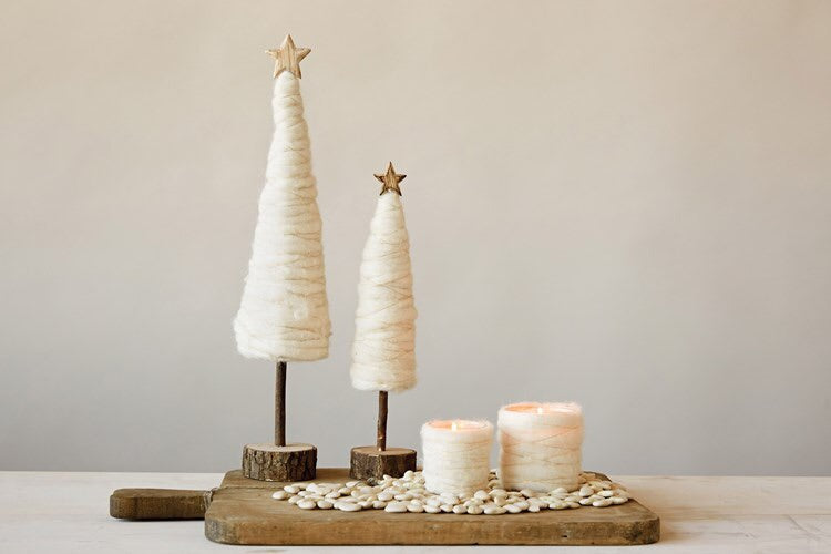 Cream Wood Christmas Tree