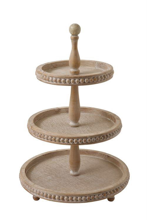 3 Tier Wood Tray with Beading