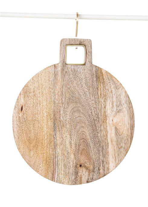 Wood Cutting Board w/ Brass Trim Handle