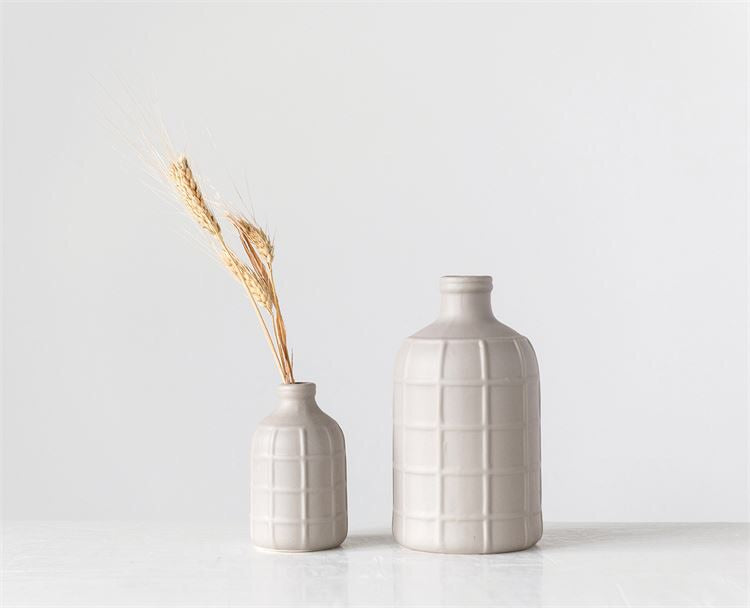 Matte Grey Basketweave Bottle