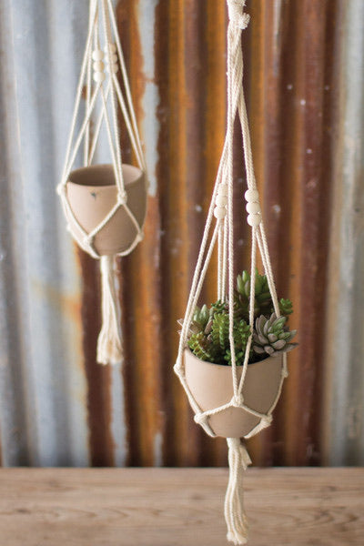 Pot with Macrame Hanger