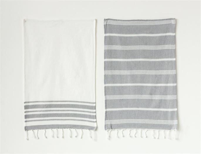 Grey and White Striped Dish Towel