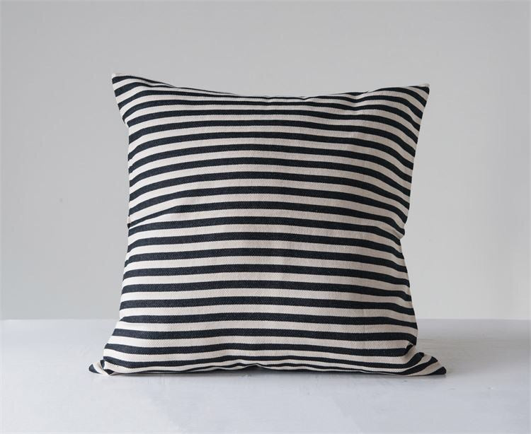 Large Black and White Striped Pillow