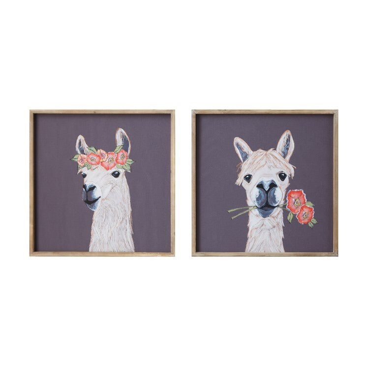 Llama Wood Framed Wall Art