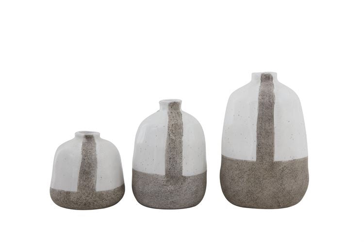 Grey Stripe Terra-Cotta Vases