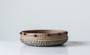 Seagrass Basket with Black Beads