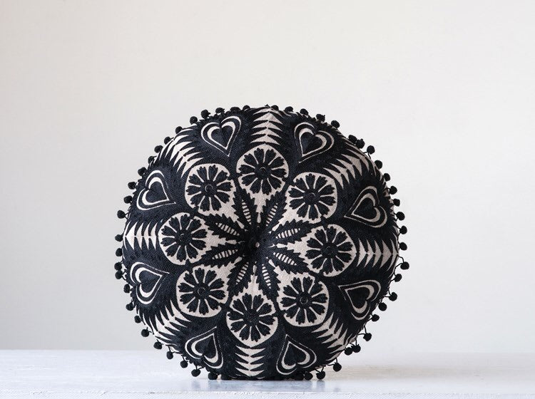 Embroidered Black Pillow with Poms