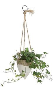 White Stoneware Hanging Planter