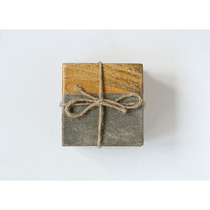 Cement & Wood Coaster Set