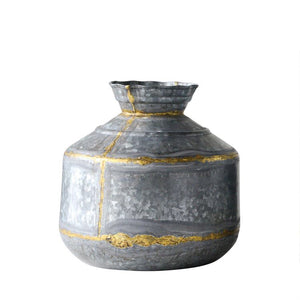 Galvanized & Gold Vase