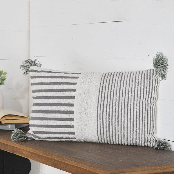 Grey + White Striped Pillow