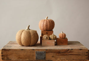 Wool Felt Pumpkin w/ Resin Stem, Orange