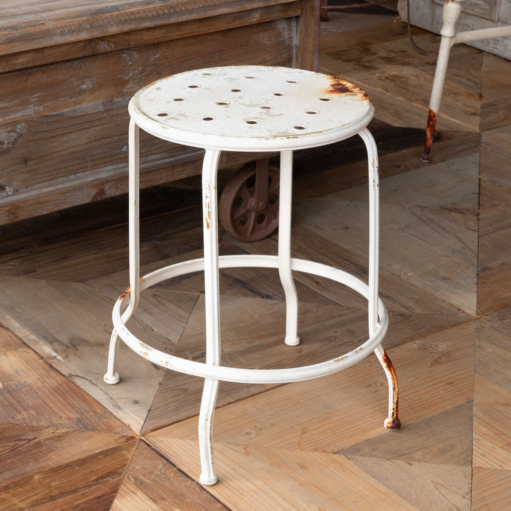 Aged White Metal Stool