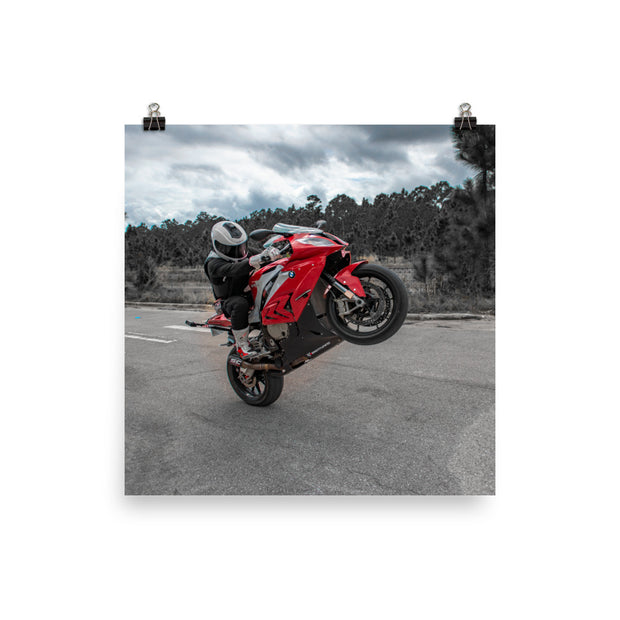 2015 S1000RR WHEELIE - Photopaper Poster Art